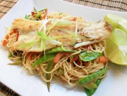 Sea Bass with Chilli and Ginger Noodles