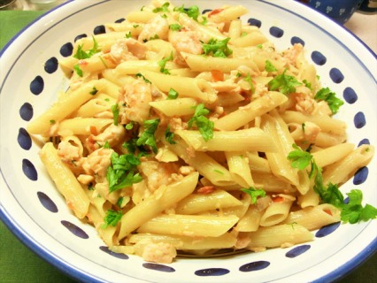 Salmon and Prawn Penne Pasta