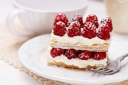 Pistachio Millefeuille with Raspberries