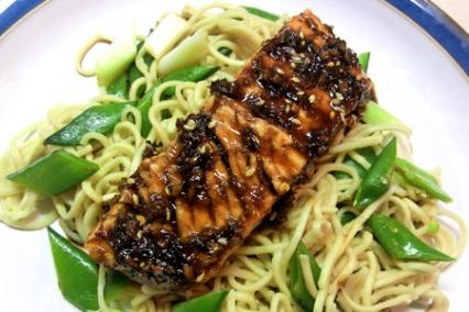 Salmon Teriyaki With Noodles