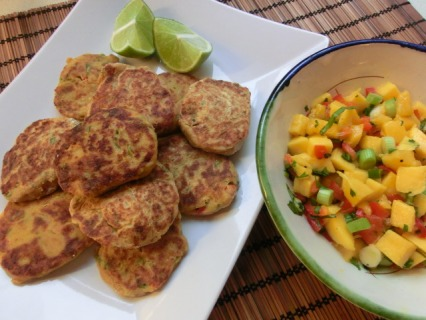 Caribbean crab cakes and mango salsa