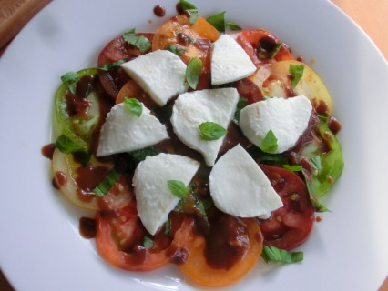 Heritage tomato salad with basil and mozzarella