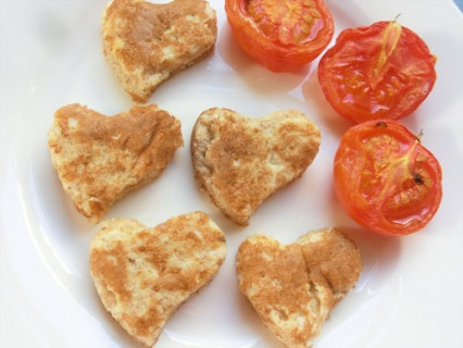 Eggy Bread Hearts with Grilled Tomatoes
