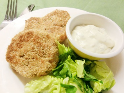 Herb and Cheese Beancakes with Caper Mayonnaise