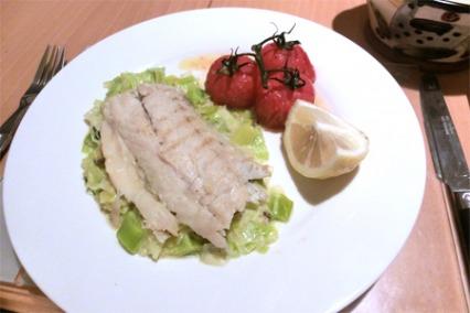Pan fried sea bass on creamed leeks